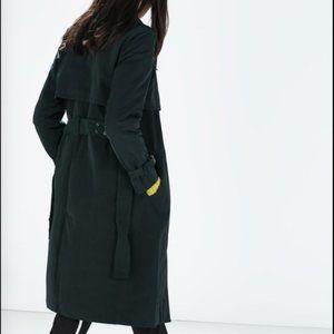 Zara Womens Classic Long Trench Coat with Belt - M